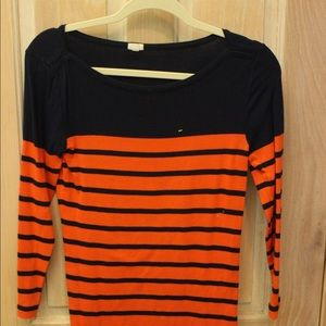 J Crew Orange and Navy stripped shirt